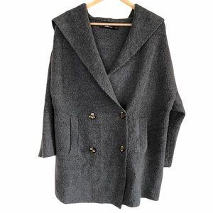 Zara Wool blend sweater jacket with hood